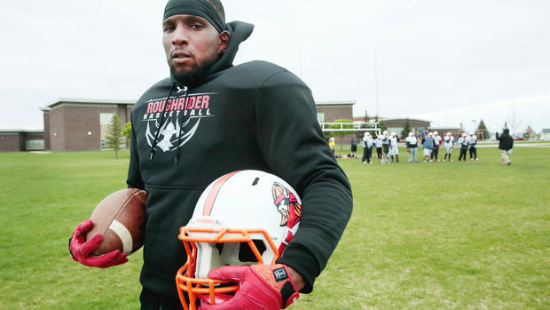 Brandon Sloan Is A Californian Who Played Football At Mayville State And Is Now A Member Of The Fargo Invaders Semi-pro Football Team That Will Play Its Home Opener Saturday At Fargo Shanley. Dave Wallis / The Forum
